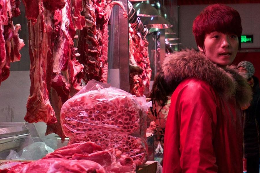 mercado de carne em pequim